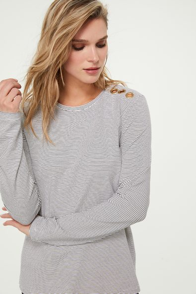 Long sleeve striped top with eyelets