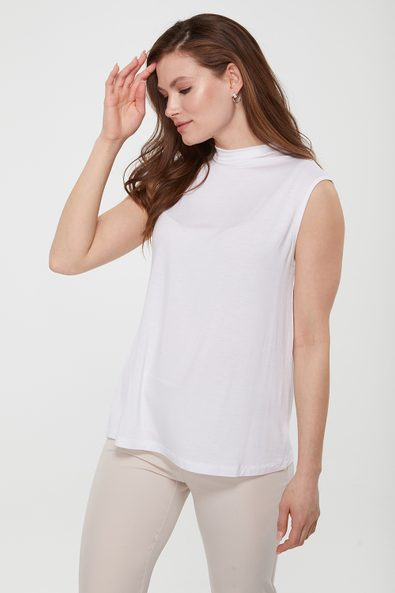 Funnel neck top with back gathering