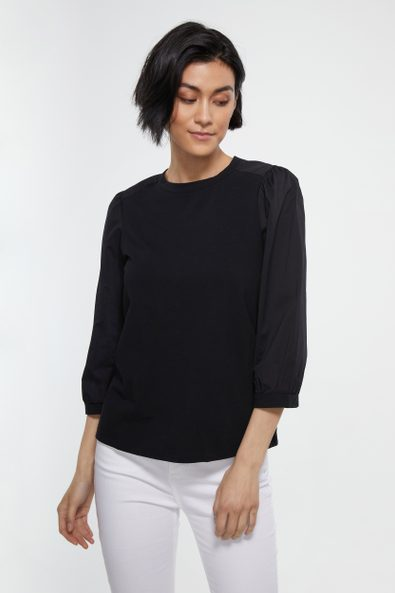 Mixted fabric puffy sleeve top