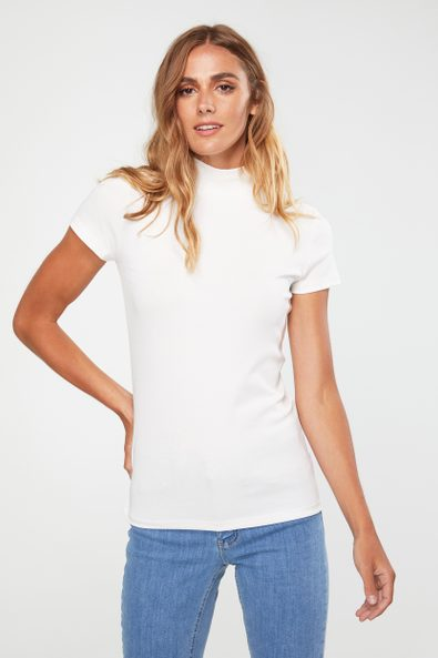 Mock neck top with cap sleeves