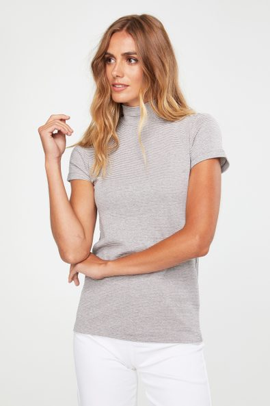 Striped mock neck top with cap sleeves