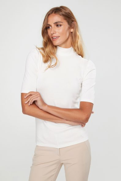 Mock neck top with puffy sleeves