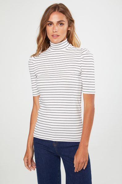 Striped mock neck top with puffy sleeves