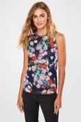 Floral print mesh top with rib at neckline