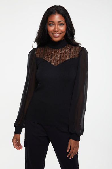 Rib top with puffy sleeve