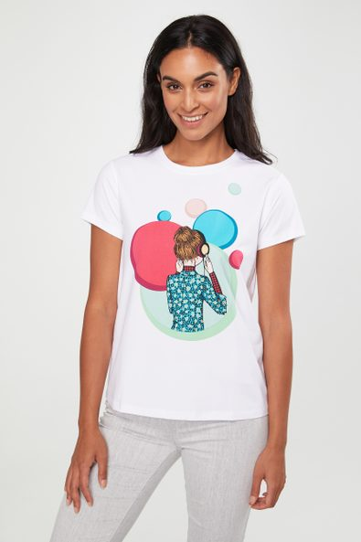 Funky lady with headphone t-shirt