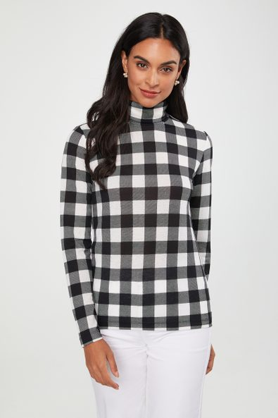 Gingham turtleneck top
