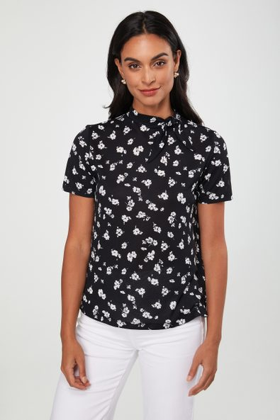 Floral print tied collar top