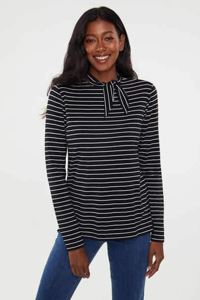 Tied collar striped top