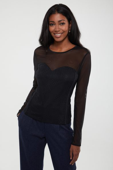 Lace top with mesh