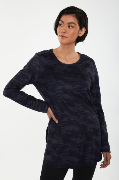 Camouflage long t-shirt with slit
