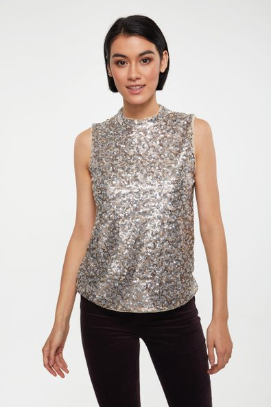 Mock neck sequin front top