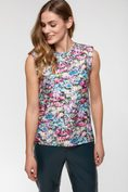 Floral printed sleeveless top with shoulder pad