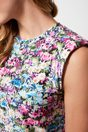 Floral printed sleeveless top with shoulder pad - Multi Blue