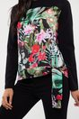 Multi fabrics printed top with knot at bottom - Multi Black