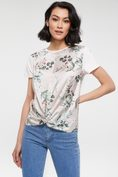 Multi fabrics printed t-shirt with twisted front