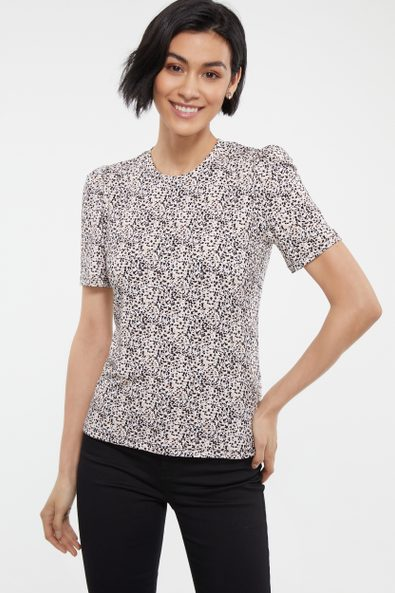 Printed t-shirt with puffy sleeves