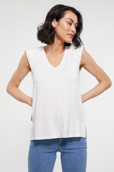 T-shirt with embellished cap sleeve