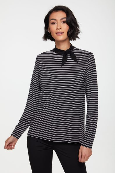 Striped top with contrast tied