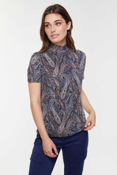 Printed short sleeve top with mock neck