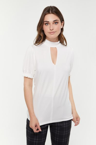 Mock neck t-shirt with puffy sleeve