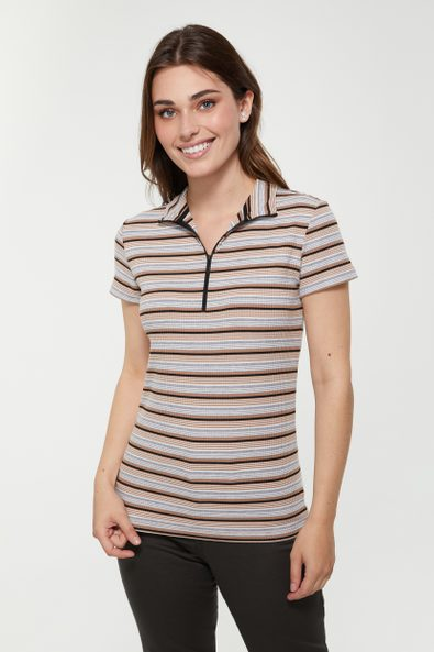 Striped mock neck t-shirt with front zipper