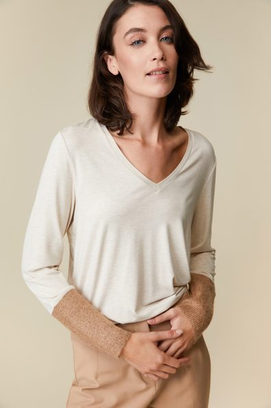 Jersey top with sequined ribbed cuffs