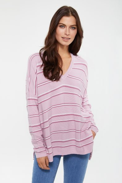 Striped V neck loose sweater