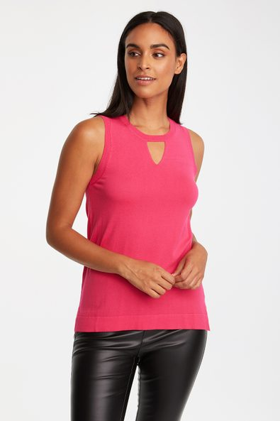 Sleeveless top with V detail