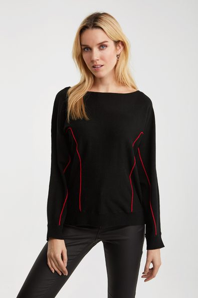 Dolman sleeve sweater with con