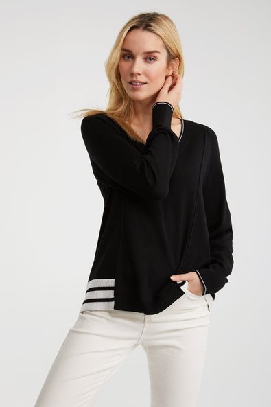 Trapeze sweater with striped r