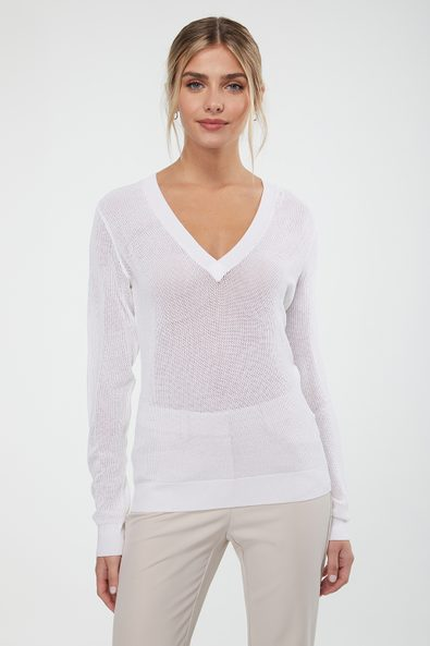 Mesh V neck sweater