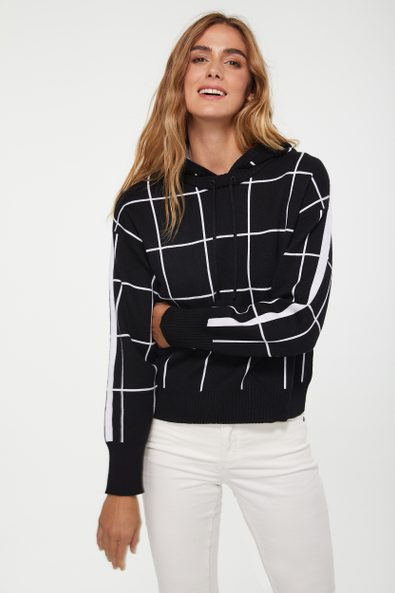 Windowpane hooded sweater