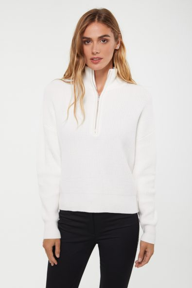 Zip mock neck sweater