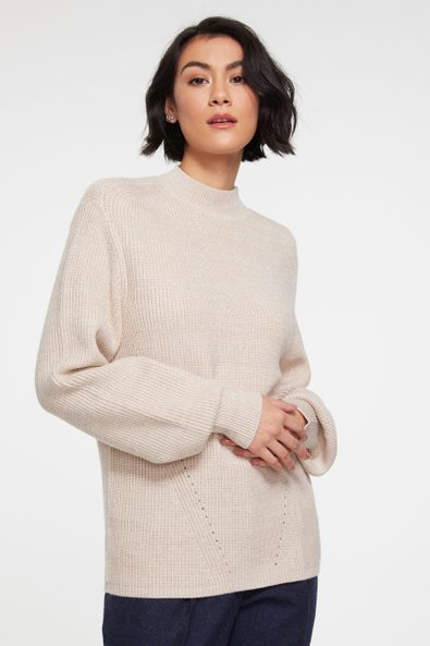 Puffy sleeve mock neck sweater