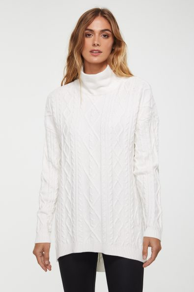 Long cable sweater with wide collar