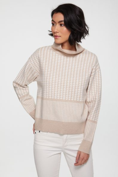 Houndstooth funnel neck sweate