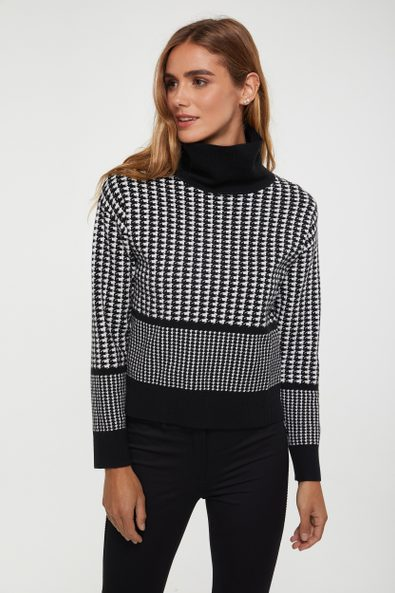 Houndstooth funnel neck sweater