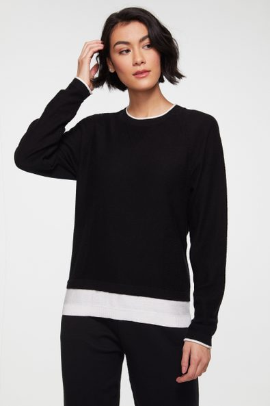 2-in-1 sweater with contrast detail