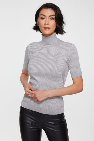 Metallic effect short sleeve ribbed sweater