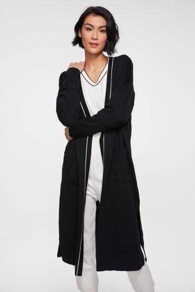 Long cardigan with contrast detail