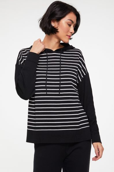Hooded striped front sweater