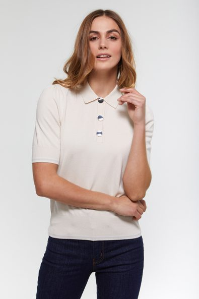 Top with polo collar & puffy sleeves