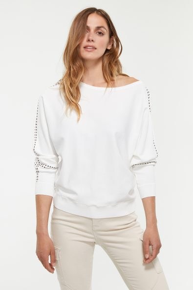 Dolman sleeve sweater with contrasting detail