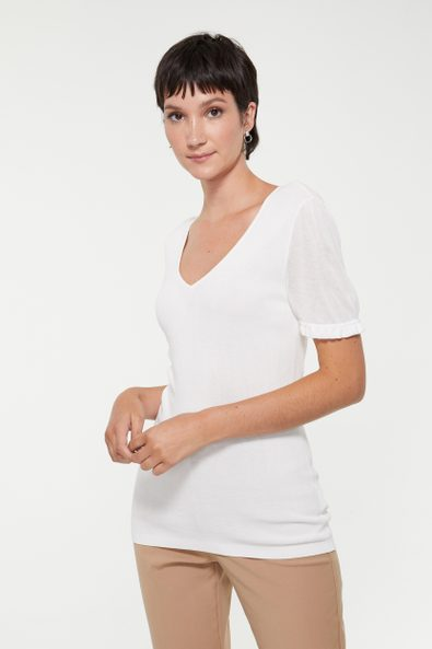 Short sleeve sweater with sheer detail