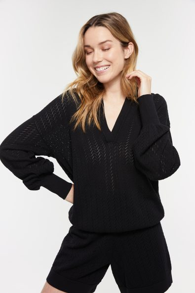 Pointelle sweater with puffy sleeves