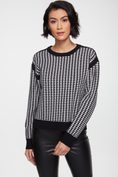 Houndstooth sweater with contrast detail