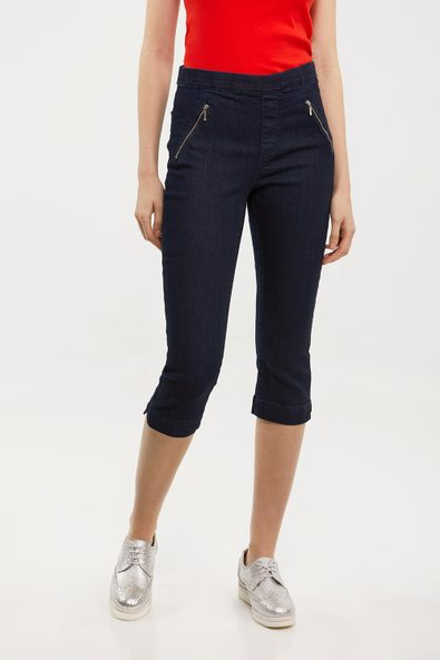 Denim capri with elastic waist