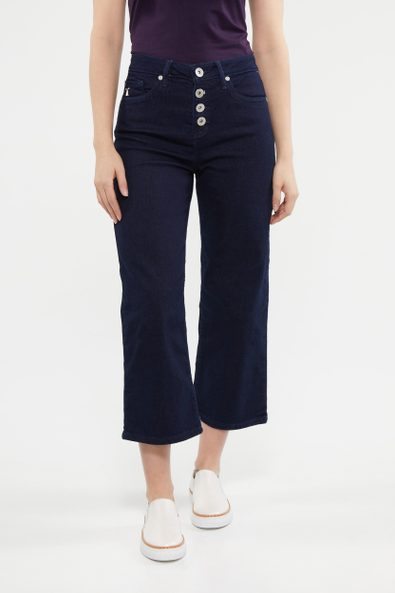Wide leg crop high waist jean