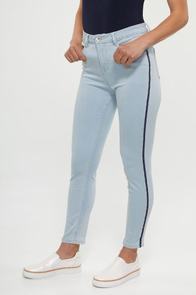 High waist slim jean with side detail